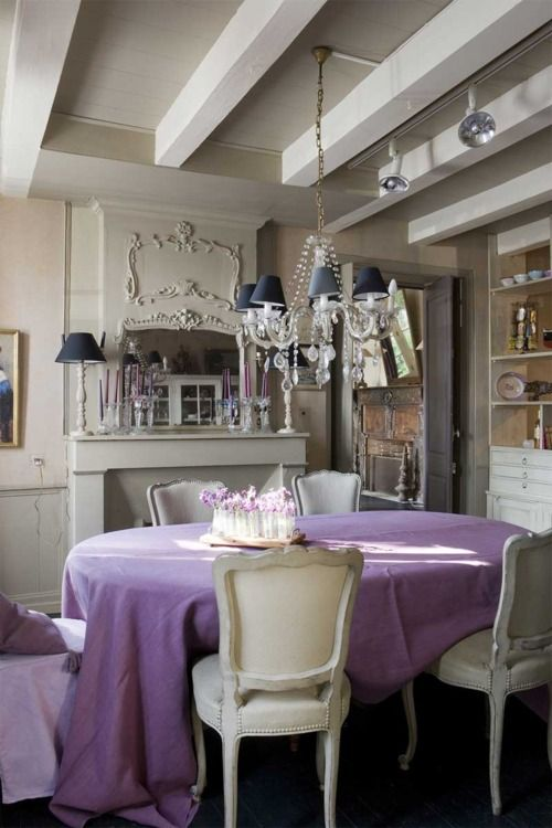 lilac and beige and beautiful wooden furniture.