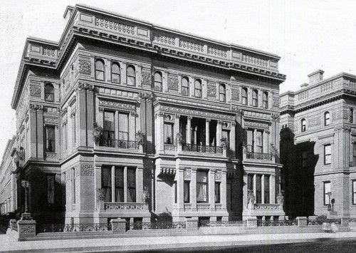 William Henry Vanderbilt house 1881- 640 5th Avenue at 51st St. J.B. Snook architect. A portion of the identical mansion can be seen on the right.  William Henry had the matching houses built for his married daughters Margaret Shepard and Emily Sloane.  They were connected by a one-story vestibule.