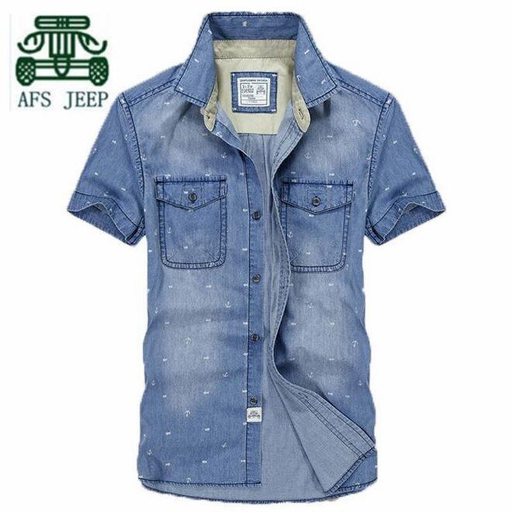 AFS JEEP Original Brand Summer Man's Thin Denim Short Sleeve 100% Cotton Shirt,Printed Slim Mutil Pockets Motorcycle Shirts Men