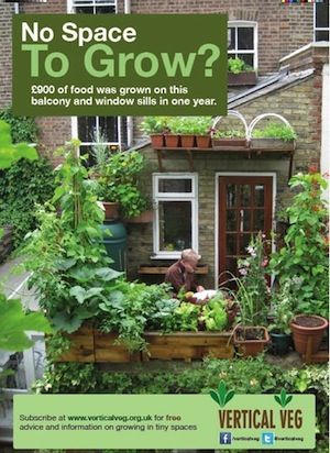 Vertical Veg Inspires and supports food growing in small spaces. Raises awareness that you don't need a garden or allotment to grow food: almost any small space with a few hours of sun can become an attractive and nutritious edible garden.
