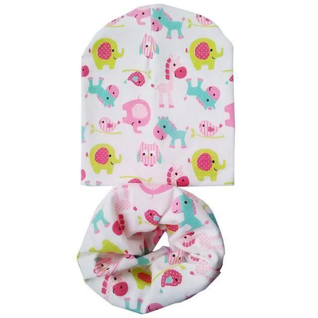 1d07bcde383 Cotton Baby Hat Set Ice Cream Love Print Cotton Cap Baby Hats Newborn Hat  Children Scarf Collar Boys