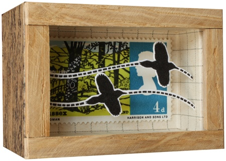 John Dilnot's smallest postage stamp box.  Woodpeckers in Flight, Sussex, England 2010.