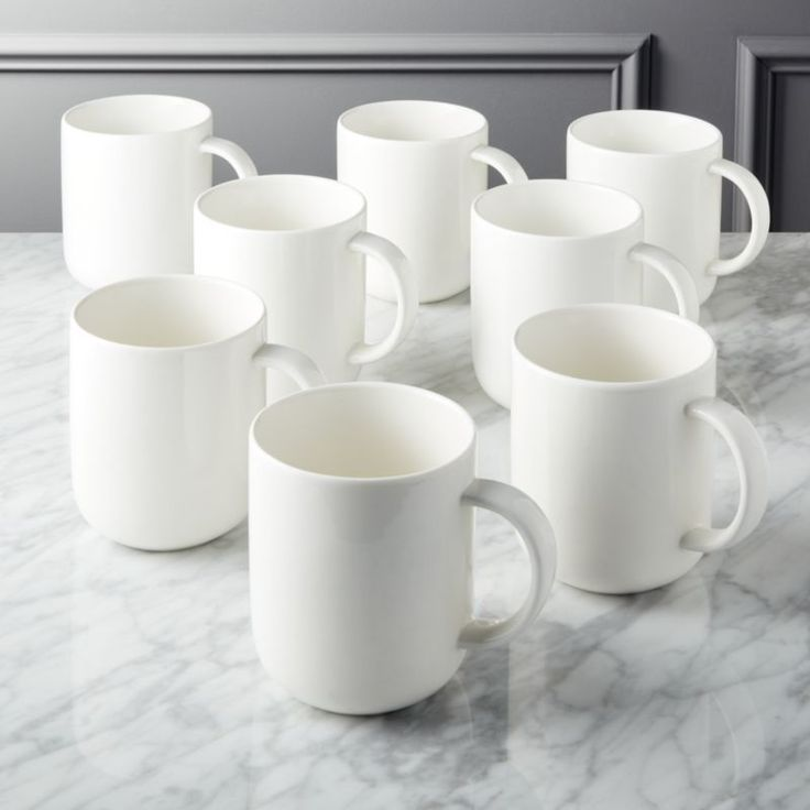 Shop Contact Bone China White Mugs Set of 8. Refined, rimless profile in handmade new bone china needs nothing more than a hi-gloss cream glaze.