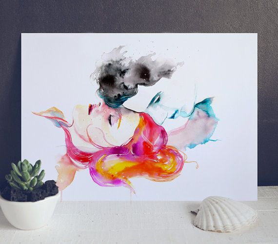 Watercolor Love Poster - Love Art Print - Red Hair - Wall Decor - Watercolor Painting - Man and Woman Portrait