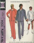 An original ca. 1973 McCall's Pattern 3504.   Men's Jog Suit or Sports Jacket + Racket Cover dated 1973. Jacket with raglan sleeves, zippered pockets, separating zipper and knitted cuffs, may have elastic in back casing. Pants with elastic in waist casing, have lower leg zippers. Jacket or pants may have braid trim. Zippered racket cover has bound edges.