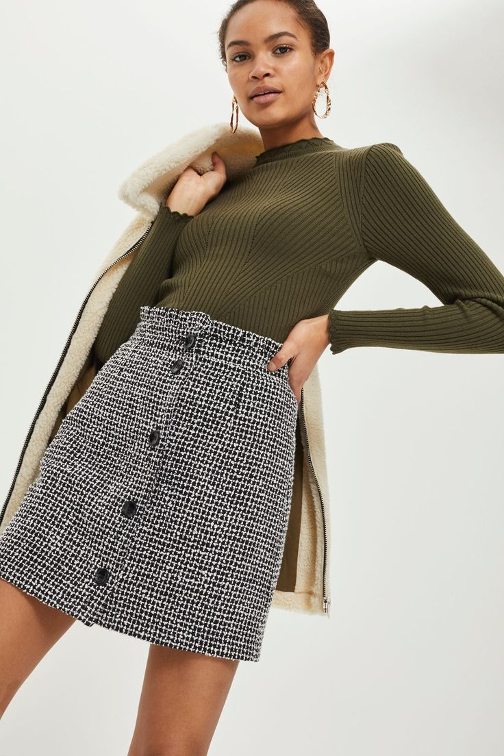 Boucle Frill Waist Skirt