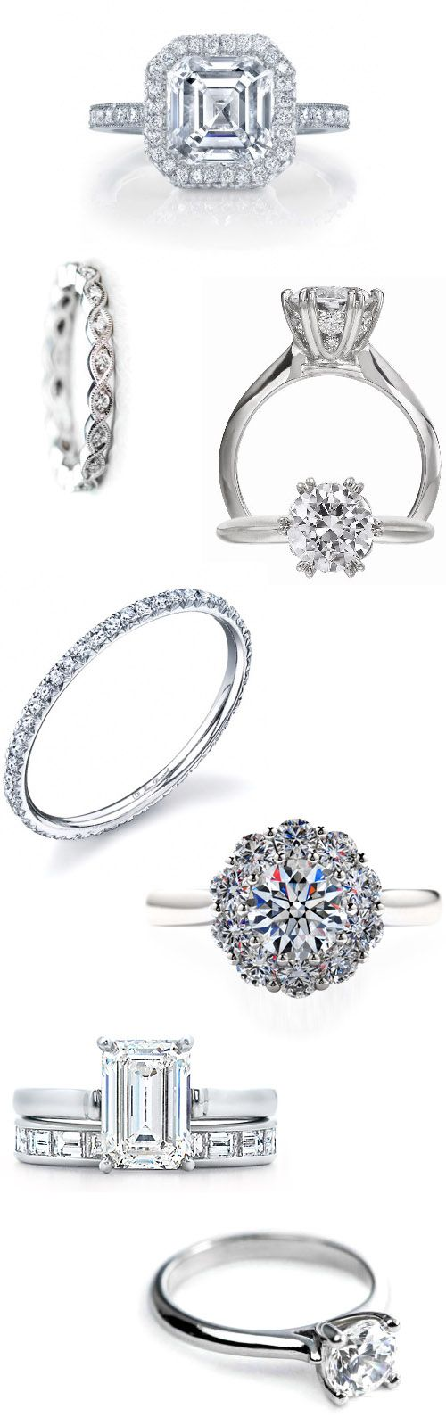 Simply beautiful, these classic diamond rings will stand the test of time! Rings: Dousset Diamonds, T. Anthony Jewelers, EE Robbins, Fox's Gem Shop and Tiffany & Co.