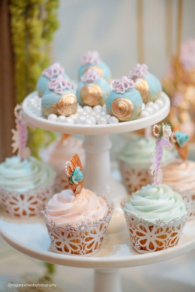 Cake pops + cupcakes from a Pastel Mermaid Birthday Party via Kara's Party Ideas | KarasPartyIdeas.com (32)