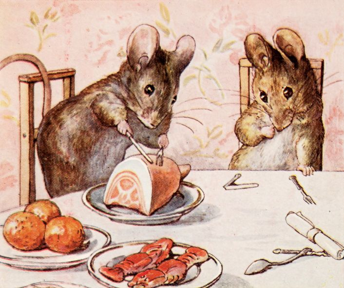 Beatrix Potter - The Tale of Two Bad Mice  Something about this picture instantly brings me back to the exact moment in time in my childhood when I was first read this book. Ah, such joy.