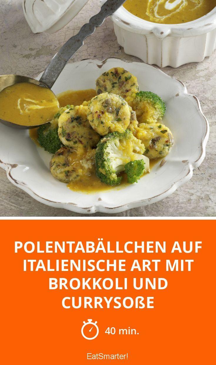 Polentabällchen auf italienische Art mit Brokkoli und Currysoße