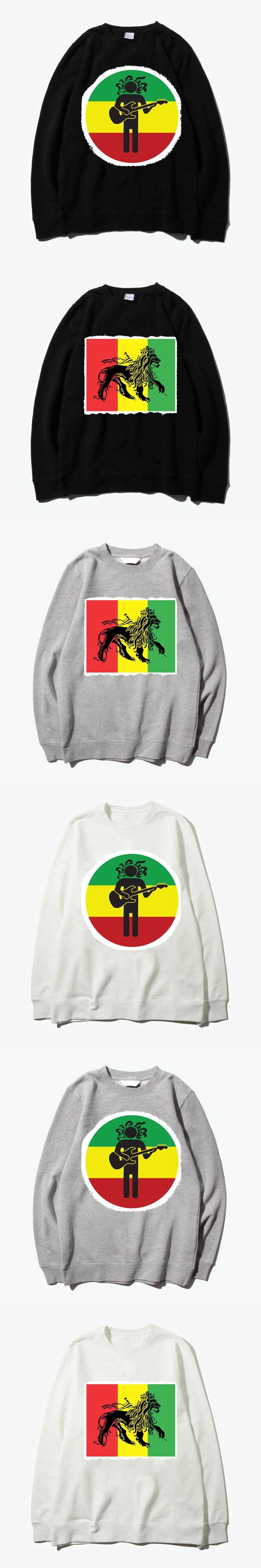 reggae lion rasta man fashion patchwork design o neck sweatshirt