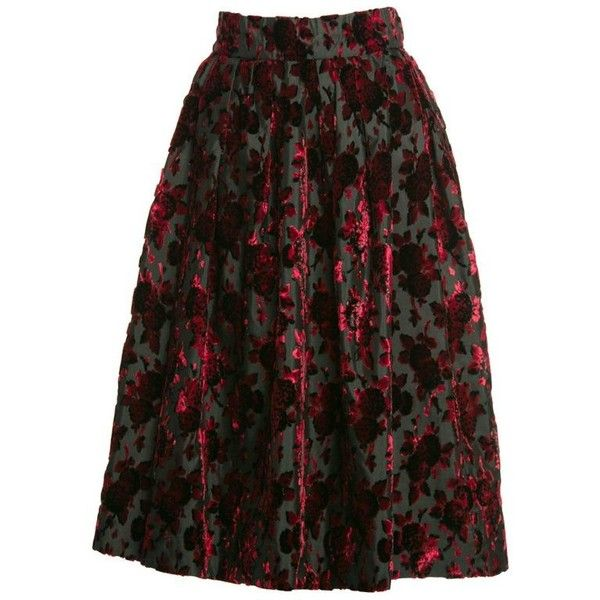 Preowned 1960s Christian Dior Marc Bohan Demi Couture Red Velvet... ($1,200) ❤ liked on Polyvore featuring skirts, red, print midi skirt, velvet skirt, pleated midi skirt, vintage floral skirt and midi skirt