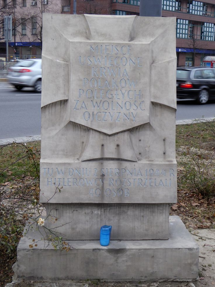 """A """"Tchorek plaque"""" on Marszałkowska Street. The Germans executed 40 people here on 2nd August 1944, during the Warsaw Uprising...."""