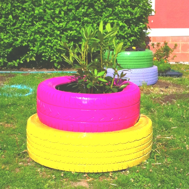 Tire planters at our school