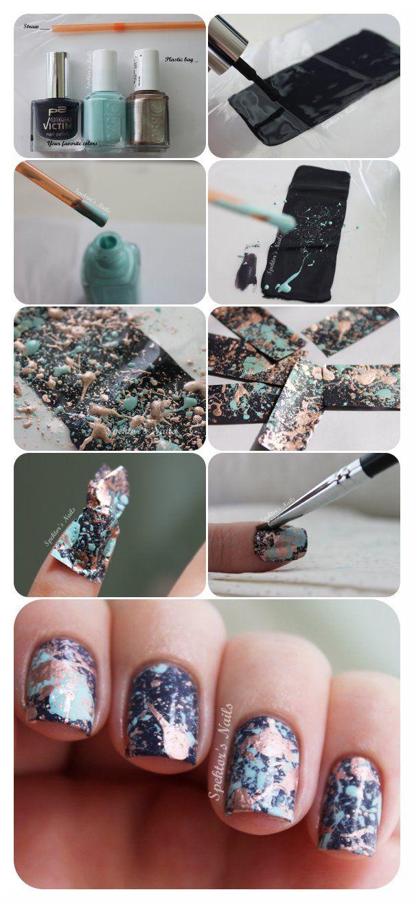 Galaxy Splatter Nails + DIY Decals Tutorial