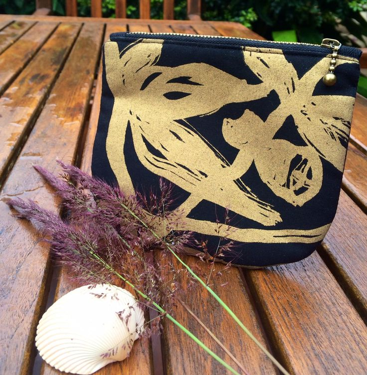 Small black purse Gold Ink by MutskaDesign on Etsy