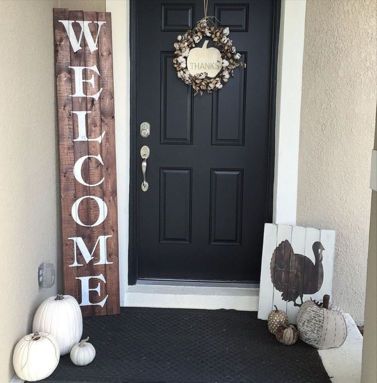 "Stenciled Front Door ""Welcome"" Sign"