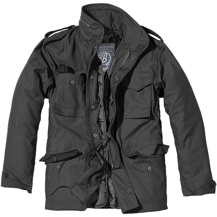 Brandit Mens M65 Classic Security Field Jacket Police Coat Military Parka Black #Brandit #Military