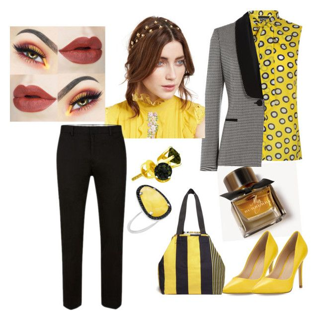 """""""Bold in Yellow"""" by preshas-jas ❤ liked on Polyvore featuring Burberry, Charles by Charles David, Pierre-Louis Mascia, Boutique Moschino, Jennifer Behr and Christina Debs"""
