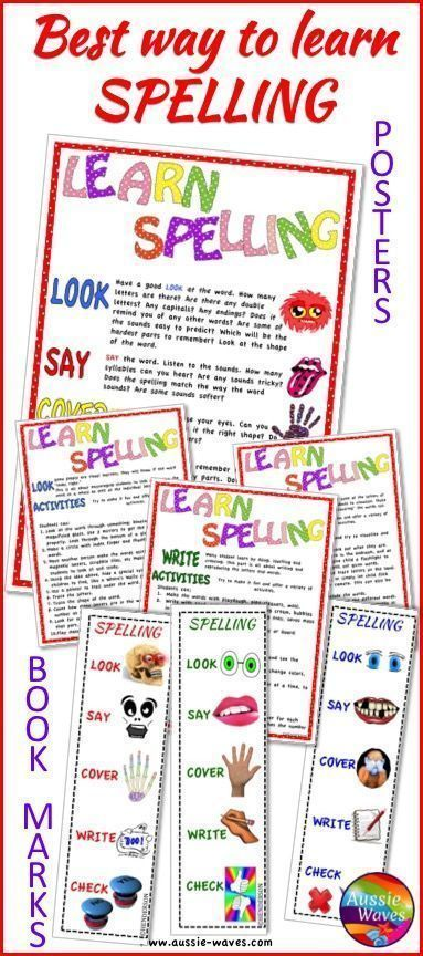 Spelling Activity Ideas, LOOK SAY COVER WRITE CHECK. Posters and bookmarks or desktop reminders. These resources remind students of some ways to learn and remember spelling words.