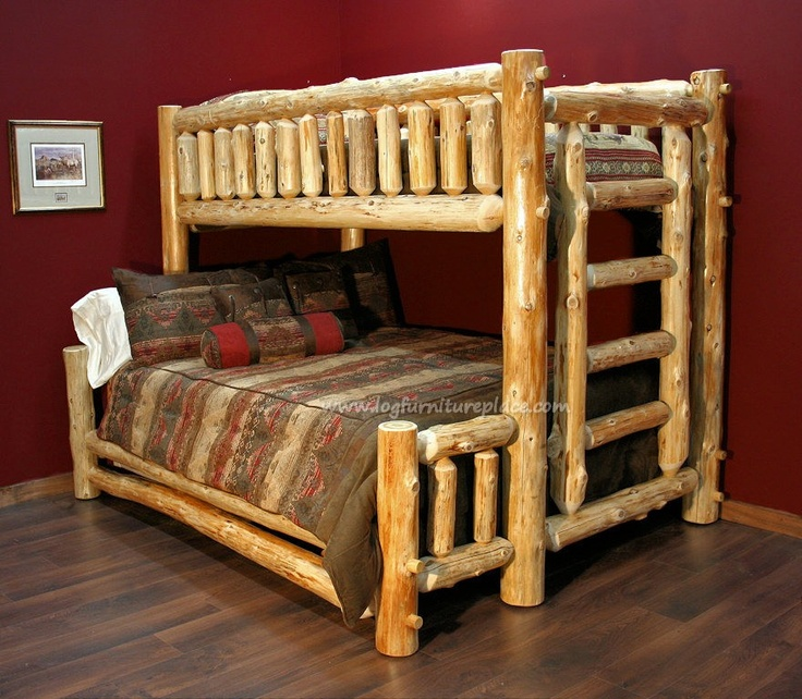 Log twin over queen bunk bed cabin pinterest queen for Log cabin style bunk beds