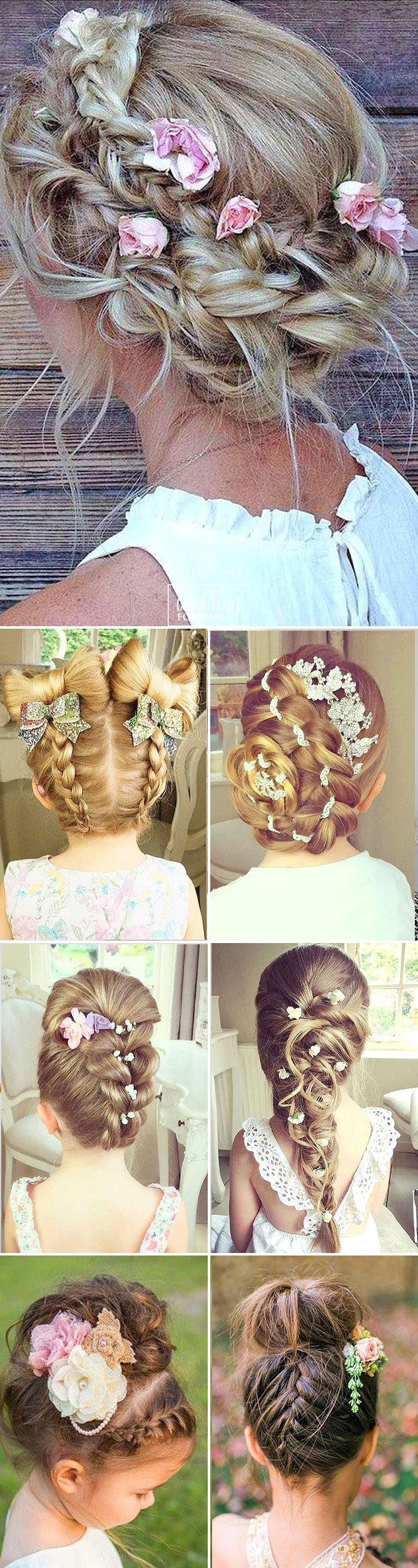 30 Cute Flower Girl Hairstyles ❤ It is necessary to find pretty hairstyle for your flower girl. Here you'll find simple flower girl hairstyles and more complex which made by a professional. See more:  http://www.weddingforward.com/flower-girl-hairstyles  #wedding  #hairstyle