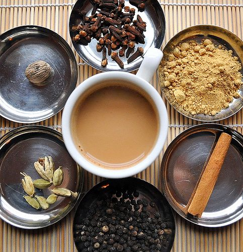how to make the best chai (tea) ever > by boiling (along with tea) chai masala (spices>cloves, ginger, cinnamon, black pepper, cardamom, nutmeg)