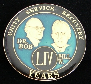 Alcoholics Anonymous 54 Year Anniversary Blue Tri Plate Medallion Bill w Dr Bob | eBay