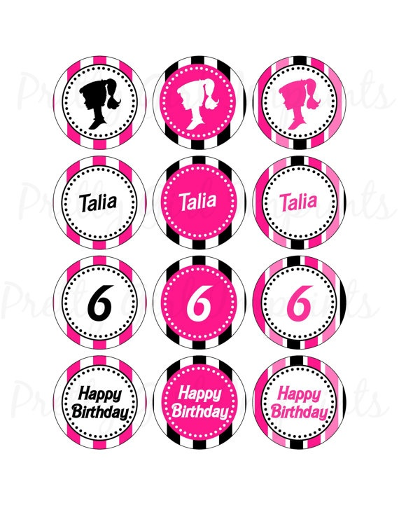 Diva Fashionista Barbie Theme Party Circles Cupcake Toppers Stickers Favor Tags ONLY 850
