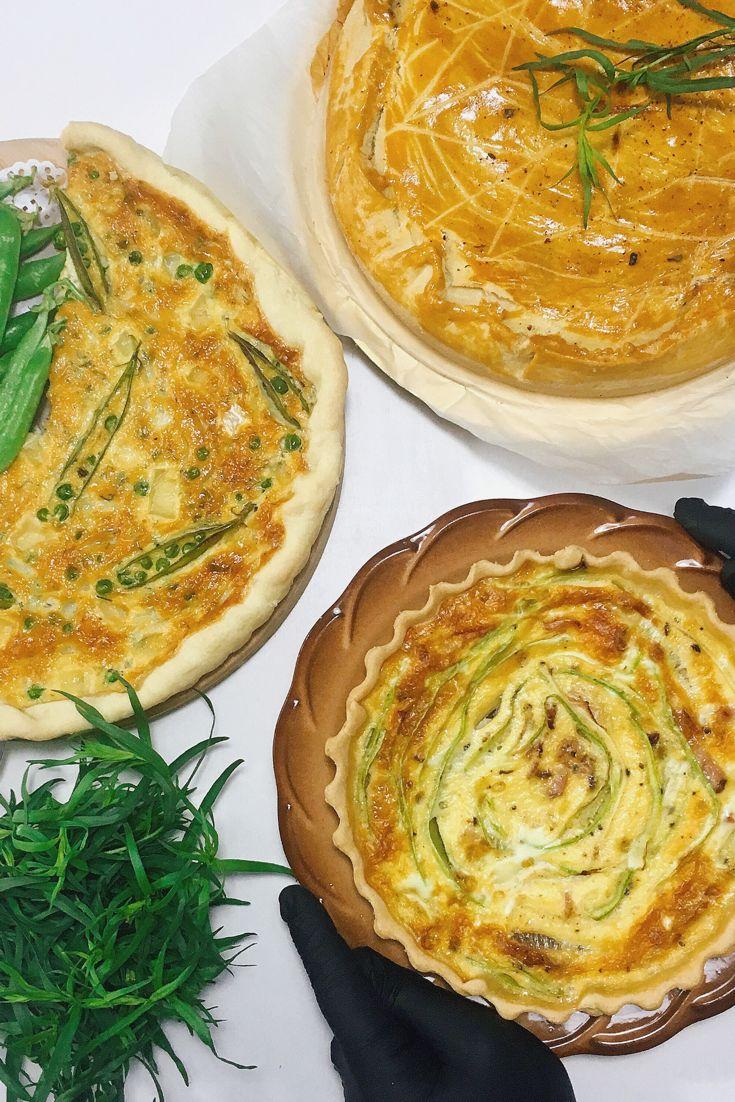 Заказать пироги и киши можно в нашей семейной пироговой Tartes de Marie в г. Днепр. На фото : •Пирог с говядиной, пастернаком и грибами в красном вине; • Пирог с зелёным горошком и бри; •Пирог с кабачком и беконом .