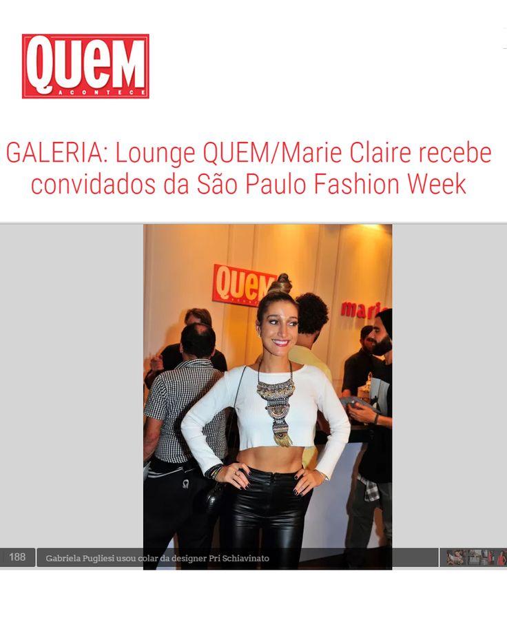 Saímos no site Quem Acontece com  a blogueira Gabriela Pugliesi com Máxi Colar.   #prinamidia #priacessorios #prischiavinato #quemacontece #gabrielapugliesi www.priacessorios.com.br