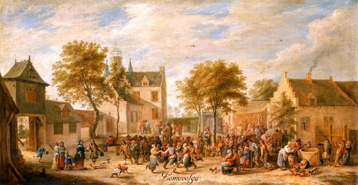 David Teniers the Younger ANTWERP 1610 - 1690 BRUSSELS A KERMESSE WITH VILLAGERS MAKING MERRY IN A TOWN SQUARE