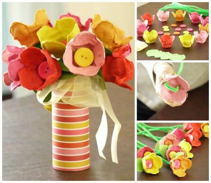 169 best images about spring on pinterest flower Egg carton flowers ideas