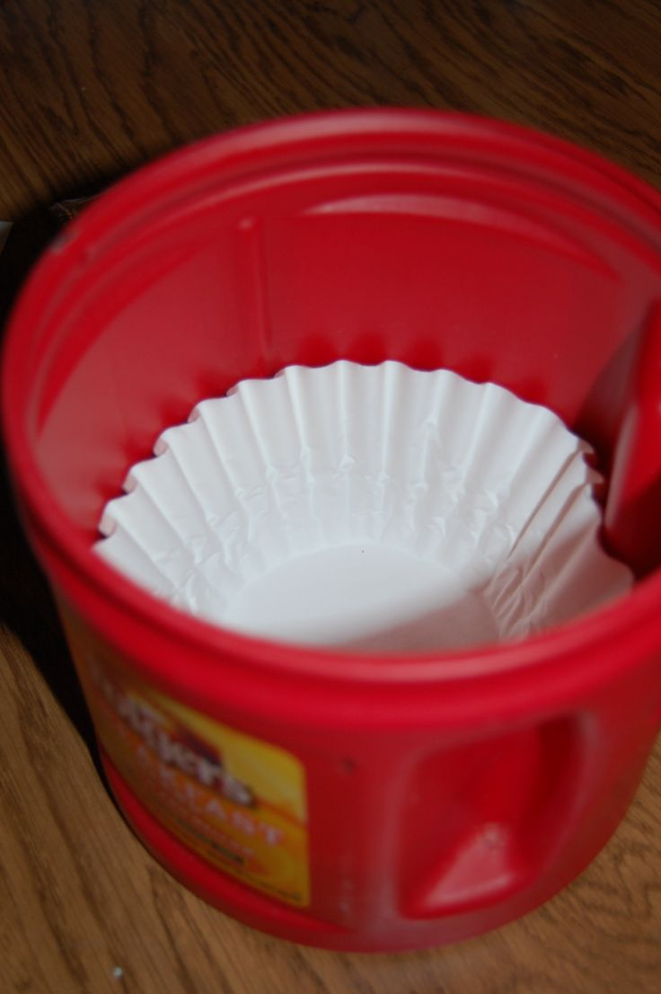 Looking for something to put those coffee filters in:    Use an empty plastic coffee container