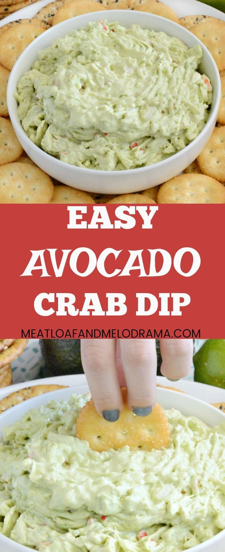 Easy Avocado Crab Dip - Quick and easy vintage cold crab dip recipe that is the perfect summer appetizer for parties, potlucks or holiday entertaining anytime. from  Meatloaf and Melodrama