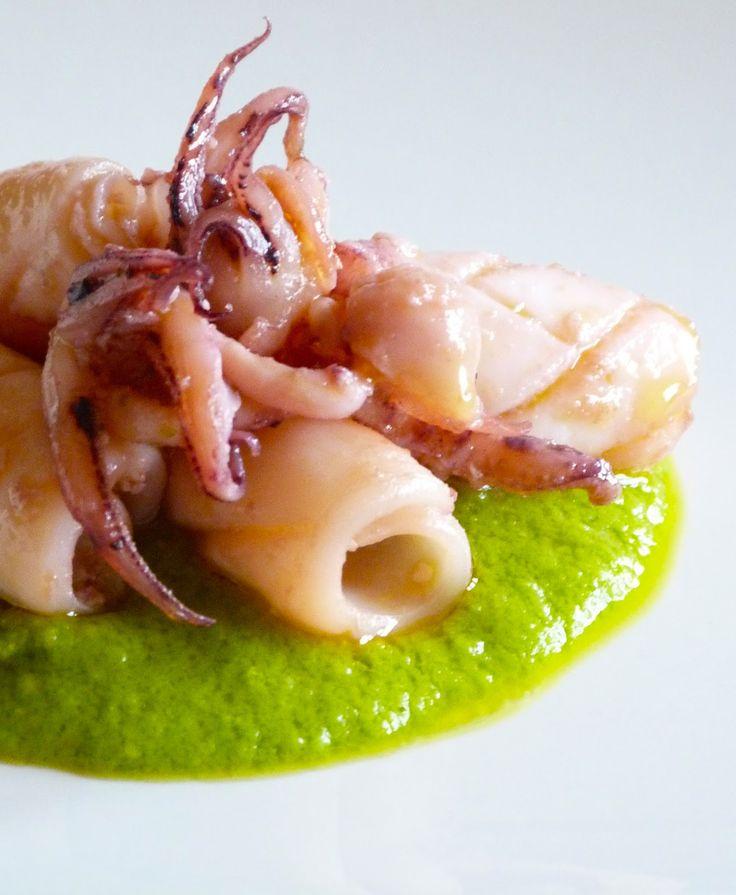 """cook 'n' book: Calamari con pesto di pomodorini secchi e calamari su crema di piselli...una e """"bina""""!!!"""
