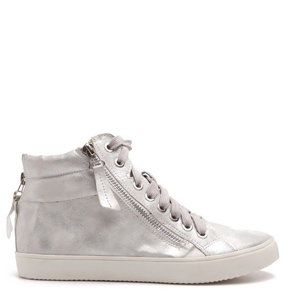 High top trainer in silver metallic colour.