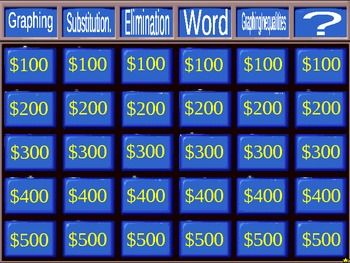 Systems of Equations Jeopardy Review Game -- A professional-looking board that links you to each question and answer and back to the board again.  Dollar value even dims once that question is used.
