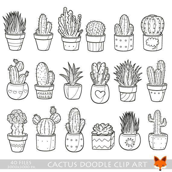 VECTOR EPS Cactus Plant Suculento Pot Doodle Iconos Clipart Scrapbook Set Coloring Hand Drawn Sketch Line Artwork Drawn Design Scrapbooking