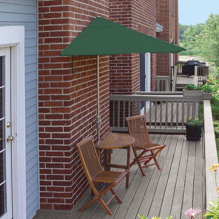 """Features:  -Set includes a 9 ft. half-canopy off-the-wall Brella®, custom cast base, the attractive 42"""" half-oval, drop-leaf table and two folding arm chairs.  -Terrace Mates Bistro collection.  -An e"""