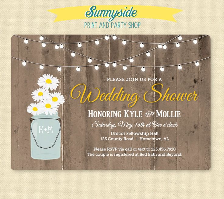 wedding shower invite sample%0A Rustic Daisy in Jar Shower Invitation  Country Wedding Shower Invitation   Wood  u     Lights Shower