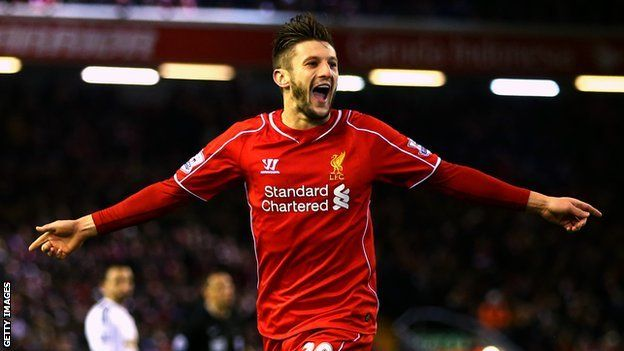 Adam Lallana celebrates scoring against Swansea in the 4-1 win 29.12.14