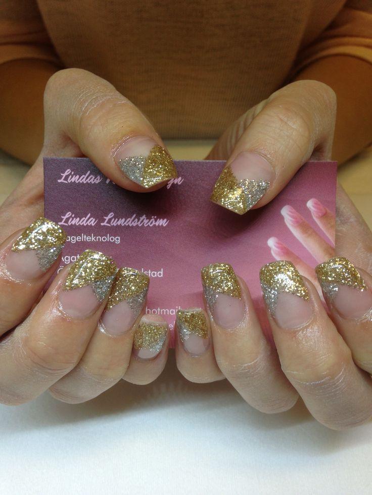 Guld silver glitter naglar