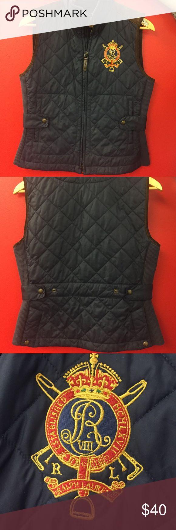 Ralph Lauren vest with suede detail Ralph Lauren navy blue vest with side detail never worn! Medium runs small Ralph Lauren Jackets & Coats