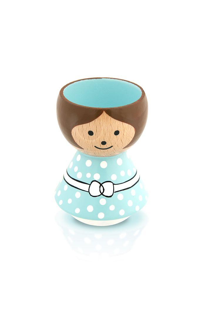 Deens handgeschilderd eierdopje. De Lucie Kaas eierdop is in verschillende uitvoeringen beschikbaar, zo stel je je eigen eierdopjes familie samen!