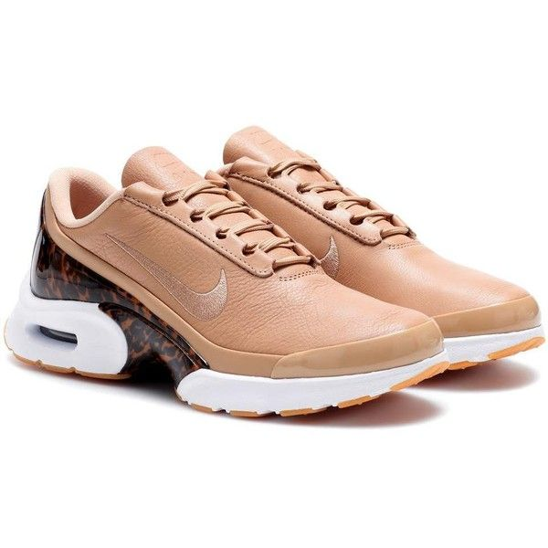 Nike Nike Air Max Jewell Leather Sneakers ($160) ❤ liked on Polyvore featuring shoes, sneakers, brown, nike sneakers, brown leather sneakers, brown leather trainers, brown leather shoes and nike trainers