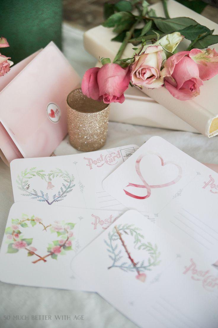 Valentine's Day Free Postcard Printables/Download with DIY Vellum Envelope #valentinesdaydecor #valentines