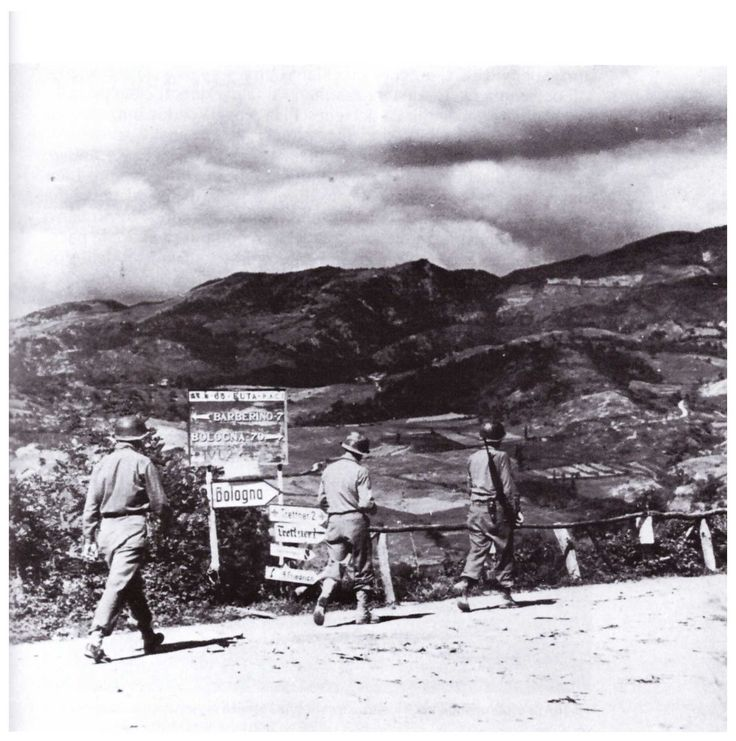 SS65 della Futa September 1944. The American infantry is at 70 Km. From Bologna (photo by Robert H. Schmidt, US military photographer).