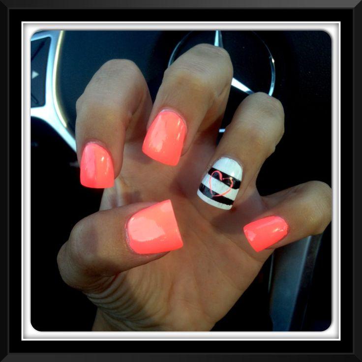 Bright Coral nail design !