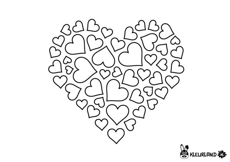 kleurplaat hart valentijn moederdag vaderdag met